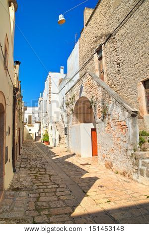 Image of an alleyway of Sammichele di Bari. Puglia. Italy.