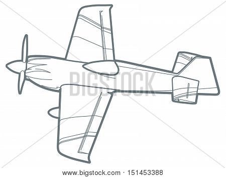 outline sport plane with propeller. small airplane