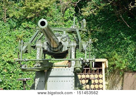 World war two anti aircraft gun with shells