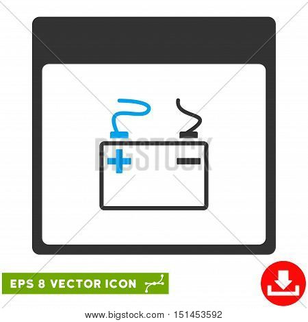 Accumulator Calendar Page icon. Vector EPS illustration style is flat iconic bicolor symbol, blue and gray colors.