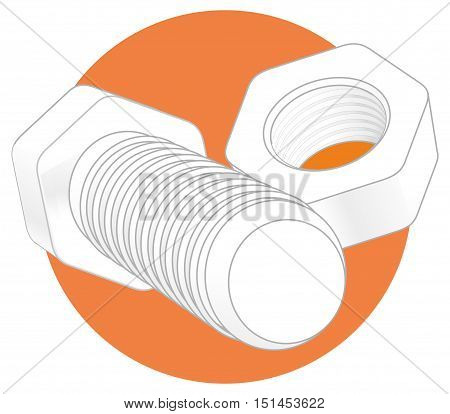 Nut and bolt icon isolated on white background