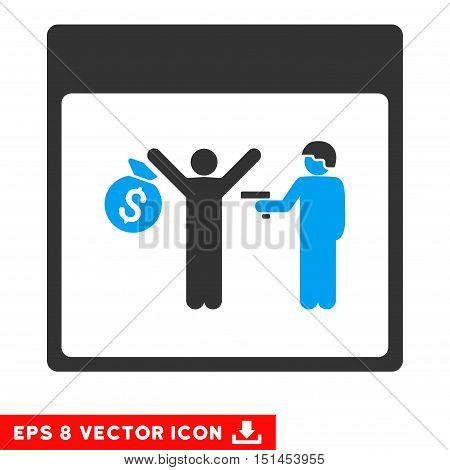 Arrest Calendar Page icon. Vector EPS illustration style is flat iconic bicolor symbol, blue and gray colors.