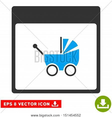 Baby Carriage Calendar Page icon. Vector EPS illustration style is flat iconic bicolor symbol, blue and gray colors.