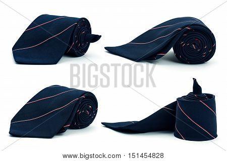 Dark blue necktie on white background. Set of blue color neck tie