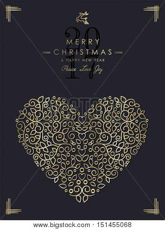 Gold Christmas And New Year Ornamental Heart Art