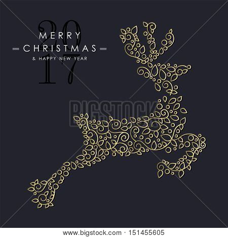 Gold Christmas And New Year Ornamental Reindeer