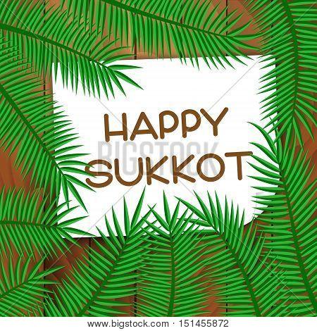 Sukkot festival greeting card. Happy Sukkot text. Vector illustration.