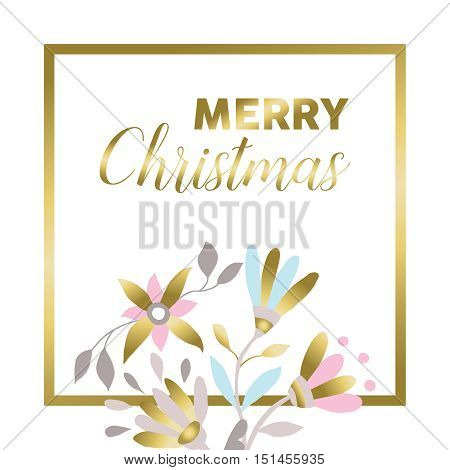 Merry Christmas Gold Floral Greeting Card Design