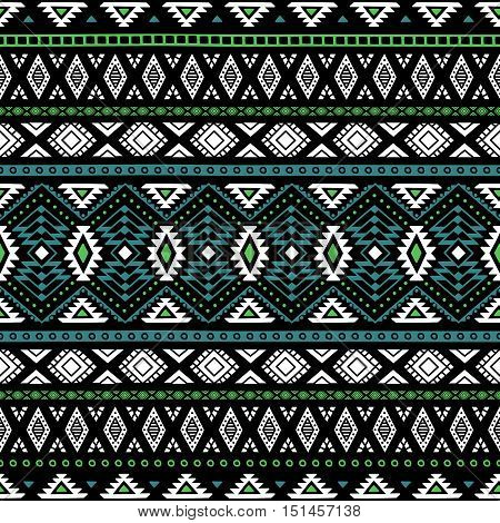 Ethnic seamless pattern. Tribal motifs. Blue, green and white geometric elements on a black background. Handmade. Vector illustration.