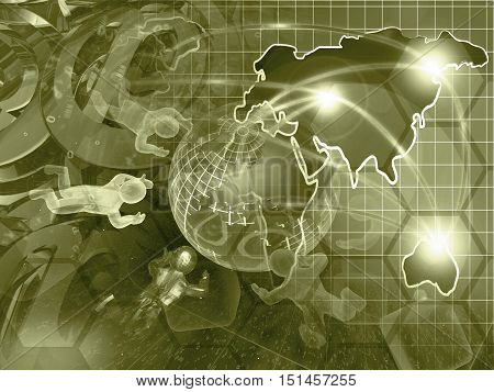 Computer background in sepia with mans map and globe.