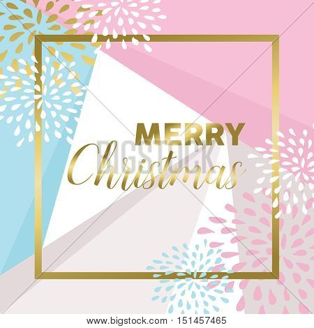 Gold Merry Christmas Design For Greeting Card