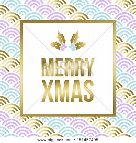 Gold Christmas Lettering Design With Mistletoe