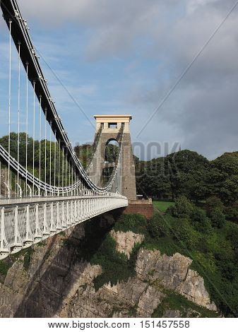 Clifton Suspension Bridge spanning the Avon Gorge and River Avon designed by Brunel and completed in 1864 in Bristol UK