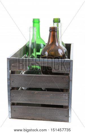 Glass Bottles In Wooden Case