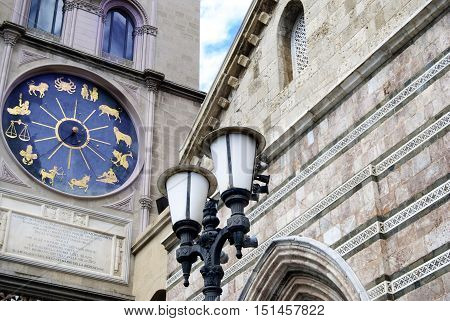 zodiacal clock in the wall of the basilica of Messina