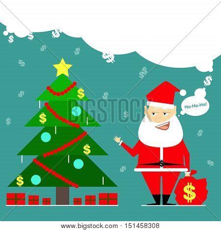 Santa Claus brought a bag of money. Business card cartoon comic
