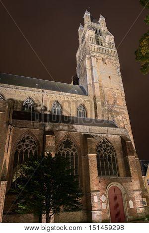 night picture of church in Brugge Belgium