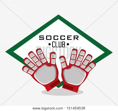 Gloves icon. Soccer sport competition game and hobby theme. Colorful design. Vector illustration