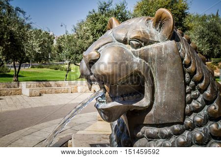 JERUSALEM, ISRAEL - OCTOBER 5: Lion's head, part of Lions Fountain by sculptor Gernot Rumpf in Bloomfield garden in Jerusalem, Israel on October 5, 2016