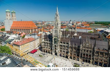 Panoramic view of the Marienplatz is a central square in the city centre of Munich Germany.