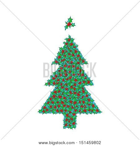 Holly Christmas tree with tree topper ornament. hand drawn background, design element for Christmas and New Year greeting card or banner. Holly with berry clip-art, isolated on white