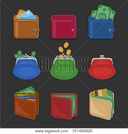 Collection of various open and closed purses and wallets with money, cash, gold coins, credit cards. Set of different business and finance symbols. Vector illustration isolated on a black background