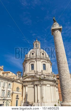 Santa Maria Di Loreto Church And Trajan Column In Rome