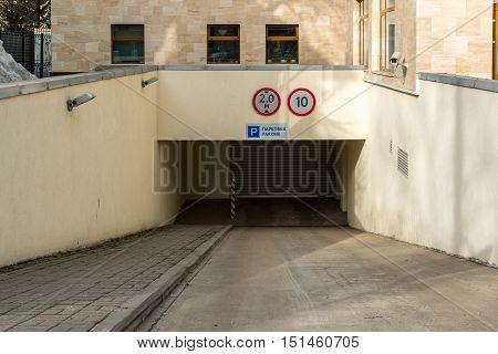 Entrance to an underground garage in Russia