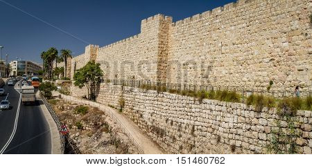 JERUSALEM, ISRAEL - OCTOBER 5: Part of the western wall of the Old City of Jerusalem, near the Jaffa Gate in Jerusalem Israel on October 5, 2016
