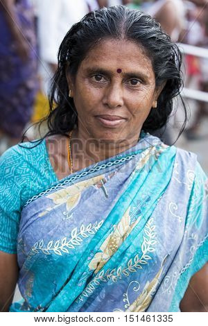 Rameswaram, Tamil Nadu, India - May 25, 2014. Full report about Rameswaram pilgrimage, religion. Religious city rituals. Life in the street before going temple