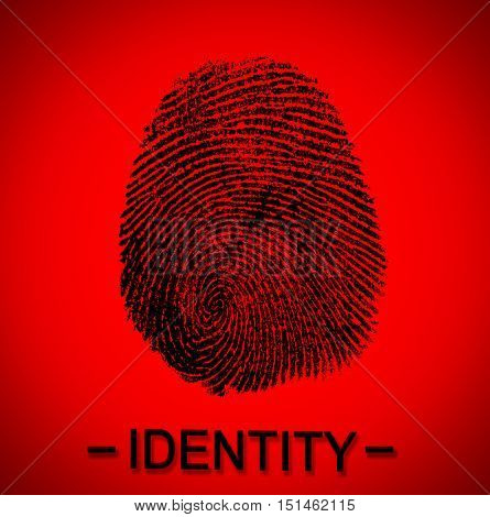 Fingerprint and word IDENTITY on red background. Individuality concept.