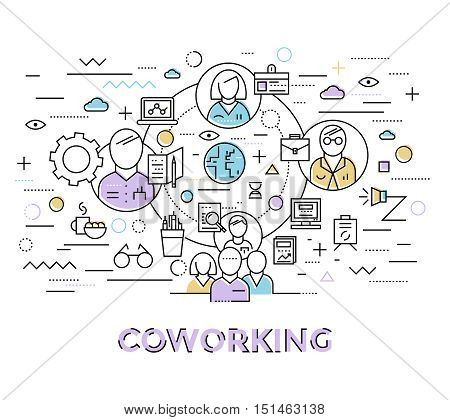 Colored coworking art in linear style with colleagues group associated with each other vector illustration