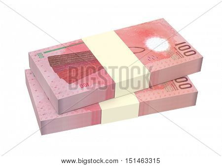 Maldivian rufiyaa bills isolated on white background. 3D illustration.