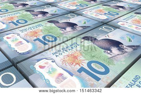 New Zealand dollar bills stacks background. 3D illustration.