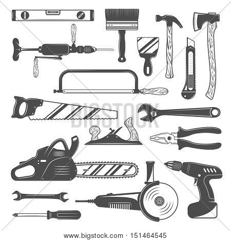 Work tools monochrome set with saw and axe grinder hammer and level wrench screwdriver isolated vector illustration