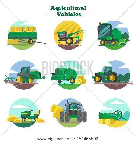Agricultural vehicles concept with cultivation seeding and harvesting packing and transportation of hay isolated vector illustration