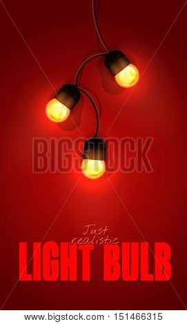 Realistic Color Vector Illustration. Isolated Glowing Light Bulb Garland On Gradient Background. Tem