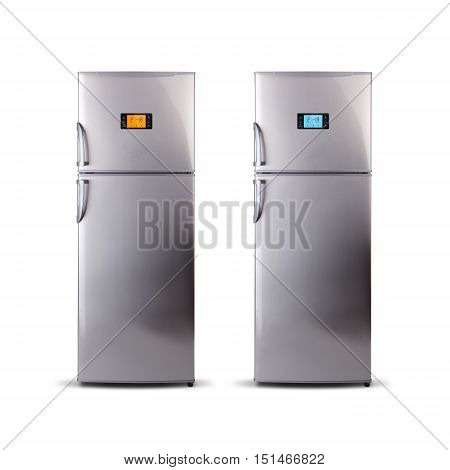 Two Stainless steel modern refrigerators isolated on white. The external LED display, with blue and orange glow. Fridge freezer