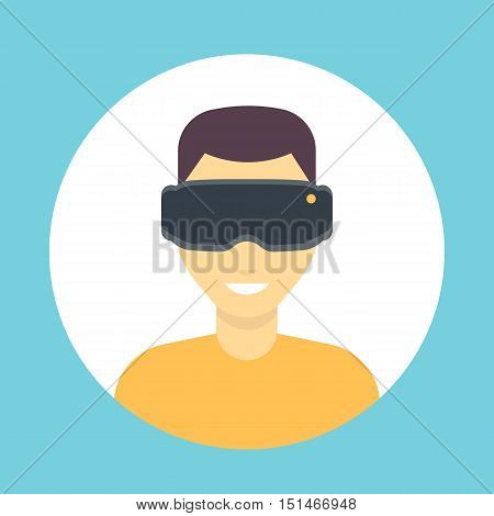 VR glasses icon, virtual reality headset, man in virtual reality glasses flat icon, vector illustration