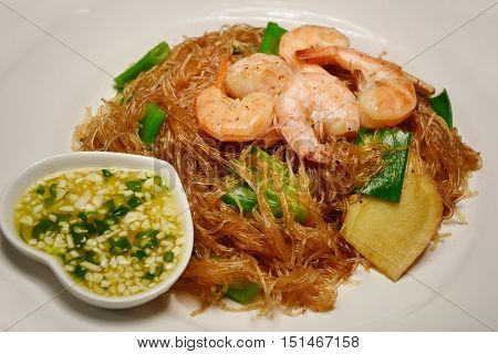 casseroled shrimps with glass noodles is diet menu asian style