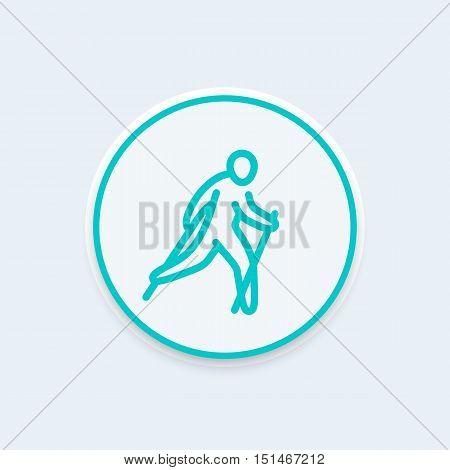 nordic walking line icon, healthy lifestyle, outdoor activity, vector illustration