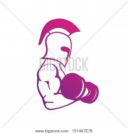 strong spartan athlete with dumbbell isolated on white, logo for gym or fitness club, vector illustration