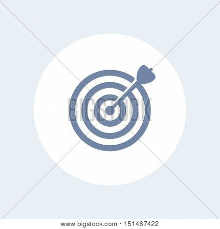 target with arrow icon isolated on white, goal achievement business concept with arrow hitting the center of a target, vector illustration