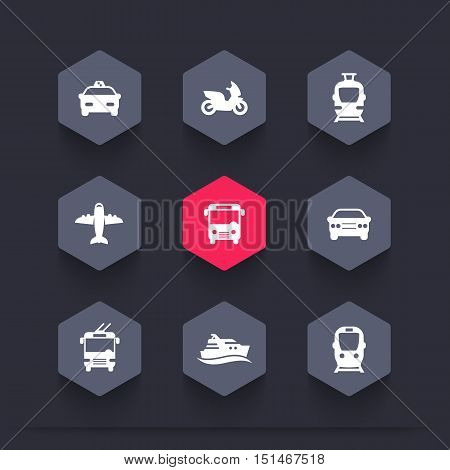 Passenger transport icons, public transportation vector signs, bus, subway, tram, taxi, airplane, ship, hexagon icons set, vector illustration