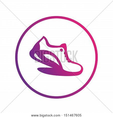 Running icon, logo element, running shoe in circle over white, vector illustration