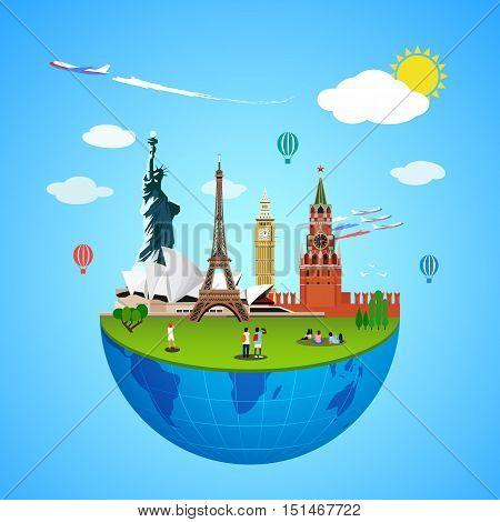 World landmarks vector concept. Global sign illustration. Famous culture place sign