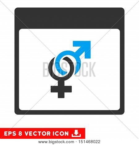 Marriage Calendar Page icon. Vector EPS illustration style is flat iconic bicolor symbol, blue and gray colors.