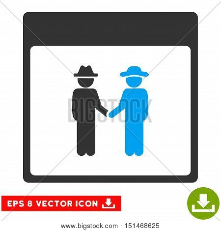 Men Handshake Calendar Page icon. Vector EPS illustration style is flat iconic bicolor symbol, blue and gray colors.