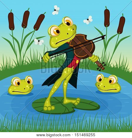 Frog plays the violin - vector illustration, eps