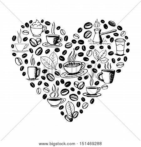 Heart shape filled by hand drawn coffee doodles isolated on white background. Coffee cup, cezve, beans and leaves symbols. Sketchy vector eps8 illustration.